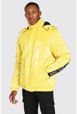 Yellow Man Dash Branded Back Detail Highshine Hood Puffer