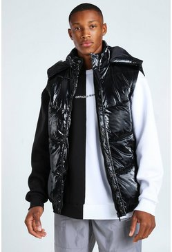 Black MAN DASH BRANDED BACK DETAIL HIGHSHINE HOODED GILET