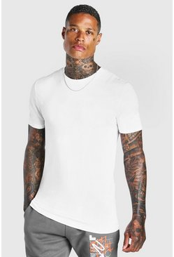 White Basic Muscle Fit Crew Neck T-Shirt