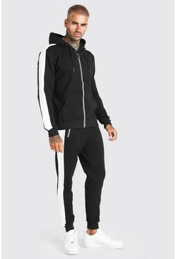 Black Zip Hooded Tracksuit With Side Panels