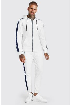 Cream Zip Hooded Tracksuit With Side Panels
