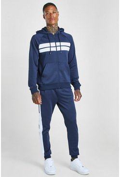 Navy Poly Zip Hooded Panelled Tracksuit
