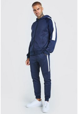 Navy Zip Hooded Poly Tracksuit with Panels