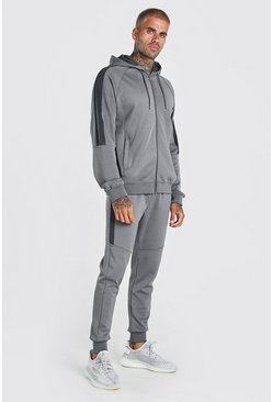 Dark grey Zip Hooded Poly Tracksuit With Panels
