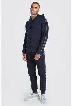 Navy Pique Zip Hooded Tracksuit With Piping