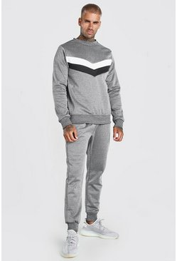 Grey Colour Block Poly Sweater Tracksuit