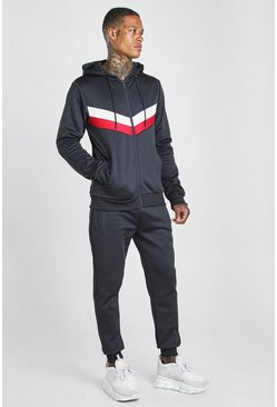 Navy Colour Block Poly Zip Hooded Tracksuit
