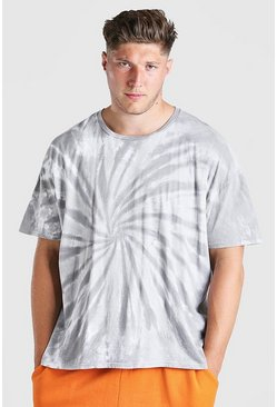 Grey Big And Tall Tie Dye T-Shirt