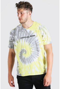 Yellow Big And Tall Official MAN Tie Dye T-Shirt