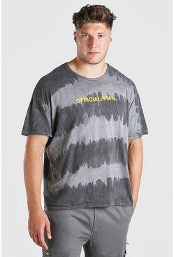 Black Big And Tall Official MAN Tie Dye T-Shirt