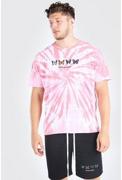 Pink Big And Tall Butterfly Tie Dye T-Shirt