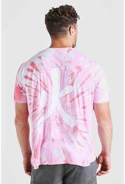 Pink Big And Tall Chinese Text Tie Dye T-Shirt