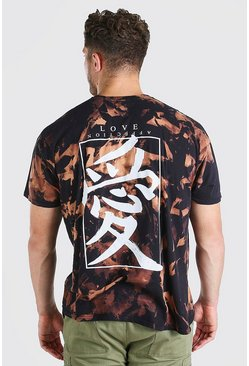 Black Big And Tall Chinese Text Tie Dye T-Shirt
