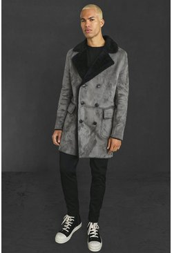 Charcoal Faux Suede Borg Lined Overcoat