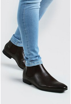 Brown Leather Look Chelsea Boots