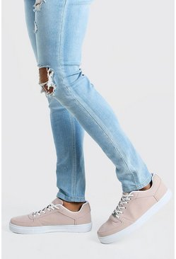 Pink Faux Suede Smart Sneakers