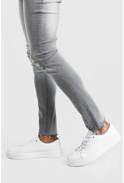 White Chunky Pannelled Sneakers