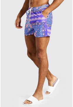 Pink Bright Baroque Print Swim Shorts