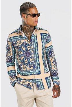 Mint Long Sleeve Bright Baroque Print Shirt