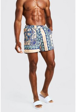Mint Bright Baroque Print Swim Shorts