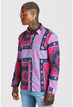 Pink Long Sleeve Bright Baroque Print Shirt