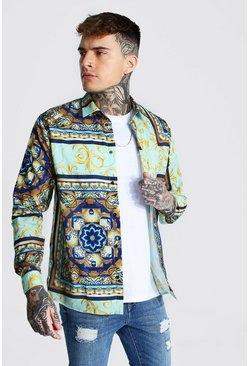 Mint Long Sleeve Bright Baroque Print Shirt