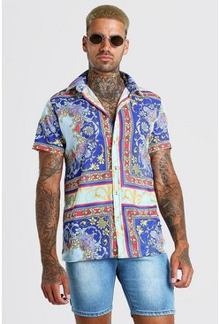 Mint Short Sleeve Bright Baroque Print Shirt