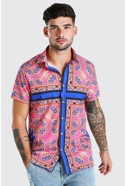 Pink Short Sleeve Bright Baroque Print Shirt