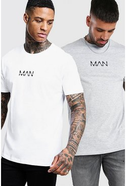 Lot de 2 t-shirts col ras du cou Man original, Multi
