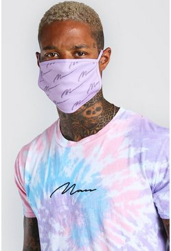 Lilac MAN Script All Over Printed Fashion Mask