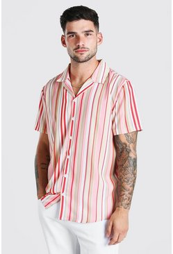 Pink Short Sleeve Revere Collar Stripe Shirt