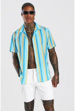 Mint Short Sleeve Revere Collar Stripe Shirt