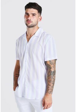 Lilac Short Sleeve Revere Collar Stripe Shirt