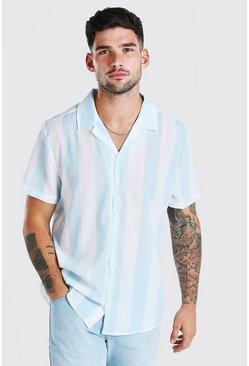 Blue Short Sleeve Revere Collar Stripe Shirt
