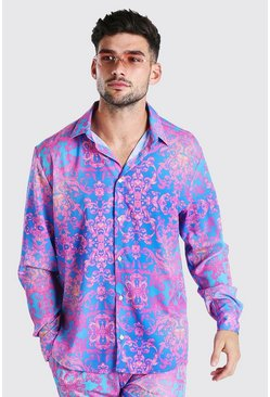 Purple Long Sleeve Regular Collar Baroque Print Shirt