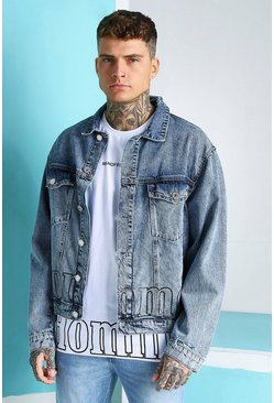 Light blue MAN Official Homme Print Denim Jacket