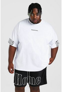 White Big And Tall Oversized Homme Sleeve T-Shirt