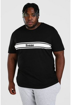 Black Big And Tall Homme Print T-Shirt