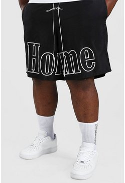 Black Big And Tall MAN Homme Print Shell Shorts