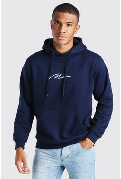 Navy MAN Signature Over The Head Hoodie