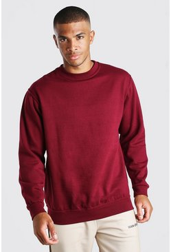 Basic Crew Neck Sweatshirt, Burgundy