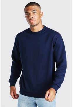 Basic Crew Neck Sweatshirt, Navy
