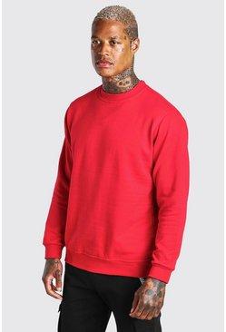 Red Basic Crew Neck Sweatshirt
