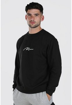 Black MAN Signature Print Sweatshirt