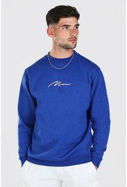 Blue MAN Signature Print Sweatshirt