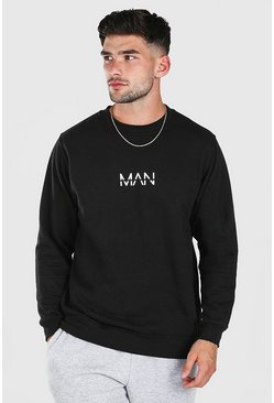 Black Original MAN Print Sweatshirt