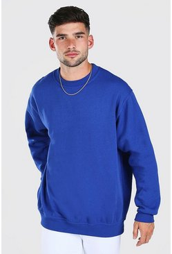 Blue Oversized Basic Crew Neck Sweatshirt