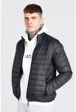 Black Foldaway Padded Jacket With Bag