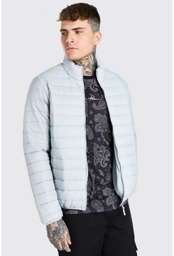 Light grey Foldaway Padded Jacket With Bag