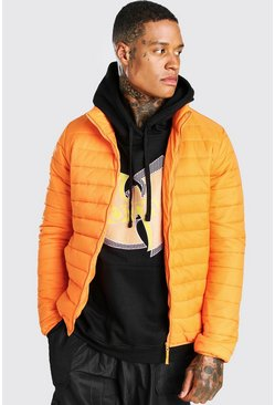 Orange Foldaway Padded Jacket With Bag